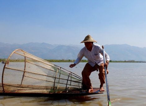 Fisherman using traditional techniques on Inle Lake