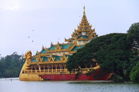 Floating restaurant on Kandawgyi Lake in Yangon