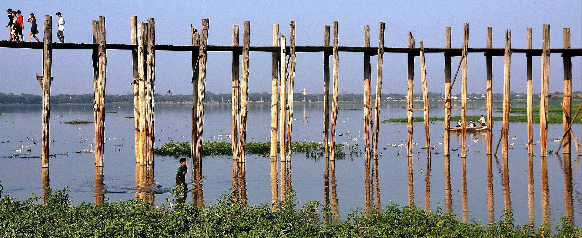 Teak wood supports of U Bein Bridge